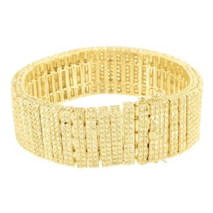 Other Mens Bracelet Canary Simulated Aaa Cz 14k Gold Finish