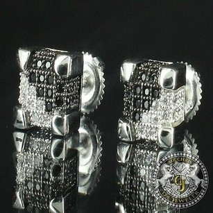 Mens Cube Square Box White Gold Silver Black Clear Ct Crystal Stud Earrings