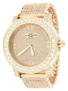 Mens Diamond Khronos Watch Round Cut Fully Iced Out Rose Gold Finish Mens Custom