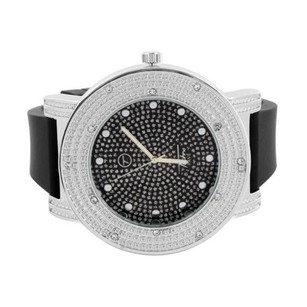 Mens Hip Hop Watch Iced Out Techno Pave Simulated Diamonds Bling Rubber Strap
