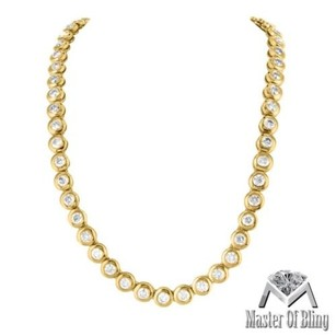 Mens Ladies Cts Diamond Tennis Necklace 32 Real 14k Yellow Gold Chain 8mm