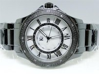 Mens Ladies Mm Black Hi-tech Ceramics Black Diamond Watch 1.0 Ct