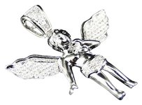 Other Mens Ladies White Gold Mini Angel Cherub Jesus 1.25 Inch Diamond Pendant .45 Ct