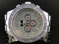 Mens Platinum Joe Rodeo Jojino Jojo Metal Stainless Steel White Diamond Watch