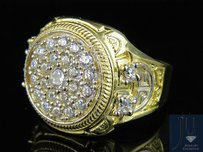 Other Mens Real 10k Yellow Gold Simulated Diamond Round Greek Designer Ring