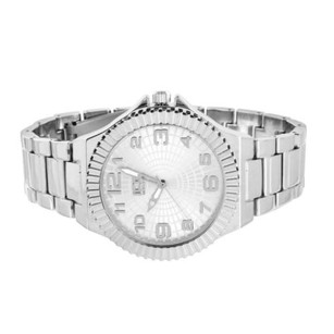Mens Silver Tone Watch Fluted Designer Bezel Ice Master Analog Round Face Steel