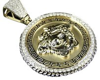 Mens Solid Yellow Gold Medusa Head Jesus Diamond Pendant Charm Medallion 2.7 Ct