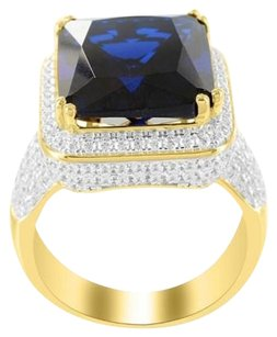 Mens Solitaire Emerald Cut Sapphire Jay Z Rapper .925 Silver Signet Pinky Ring