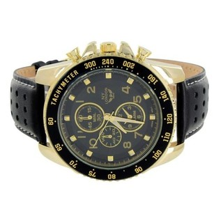 Mens Tachymeter Watch Timezone Look Black Dial Leather Band Gold Tone Elegant