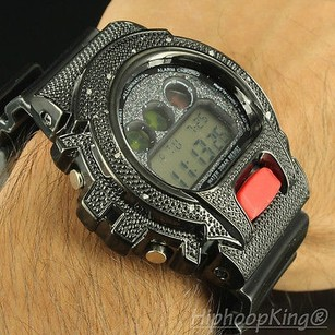 Mens Watch Jet Black Real Diamond Digital Shock Classy Iced Out Master King