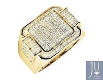 Mens Yellow Gold Finish Step Layer Wide Genuine Diamond Pinky Ring 0.30ct.