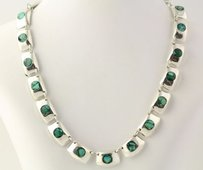Mexican Link Necklace 34 - Sterling Silver Mosaic Turquoise In Resin Tm-148