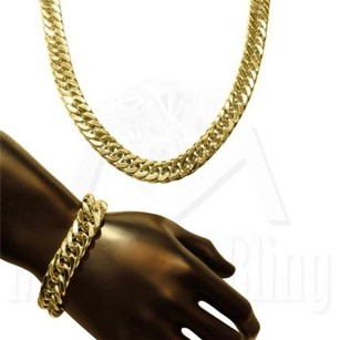 Miami Cuban Chain Bracelet Stainless Steel Mens 14k Gold Finish Necklace Mm
