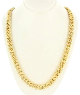 Miami Cuban Link Chain 10k Gold Inch Genuine Mm Diamond Necklace 13.25 Ct