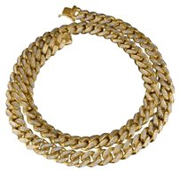 Miami Cuban Real 10k Yellow Gold Inch Genuine Diamond Mm Necklace 24.5 Ct