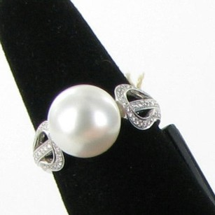 Mikimoto Ring White South Sea 10mm Pearl 0.39cts Diamond 18k Wg