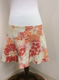 Other Espresso Stretch Mini Pink Red Floral Print Mini Skirt Orange