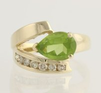 Other Modern Peridot Diamond Cocktail Ring - 14k Yellow Gold 12 Genuine 1.75ctw