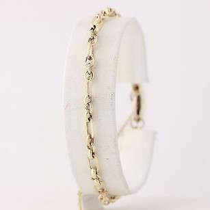 Other Modified Cable Chain Bracelet 14 - 9k Yellow Gold Etched Heart Lock Clasp