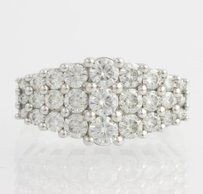 Moissanite Cocktail Ring - 14k White Gold Tiered Womens Fashion 2.00ct Dew