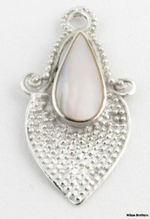 Other Mother Of Pearl Drop Pendant - Sterling Silver 925 Mop Bead Accents Estate Charm