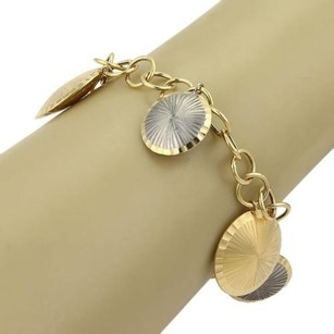 Multi Dome Fluted Disc Charms Circle Link 18k Gold Chain Bracelet