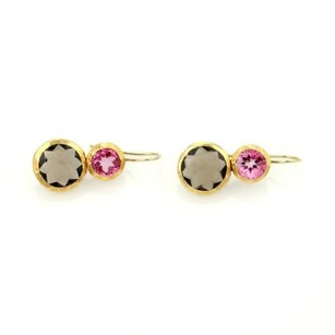 Other Nava Zahavi 18k Yellow Gold Pink Tourmaline Smokey Quartz Drop Earrings
