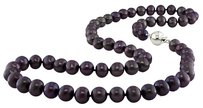18 9-10 Mm Freshwater Black Pearl Necklace W Silver Ball Clasp
