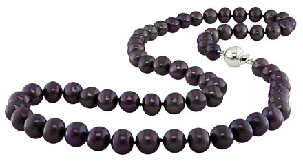 Other 18 9-10 Mm Freshwater Black Pearl Necklace W Silver Ball Clasp