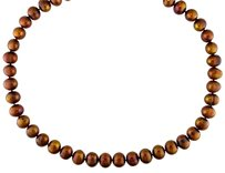 Other 18 9-10 Mm Freshwater Chocolate Pearl Necklace W Silver Ball Clasp