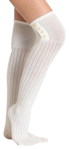 NEW! French Curve Buttoned Ribbed Knit Over-the-Knee Socks, Ivory