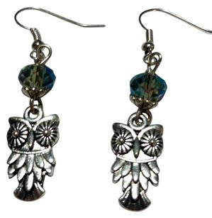 Other New Silver Tone Crystal Owl Charm Earrings J3202