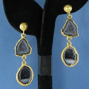 Nina Nguyen Infinity Earrings Black Grey Geode Drops 925 22k Yg