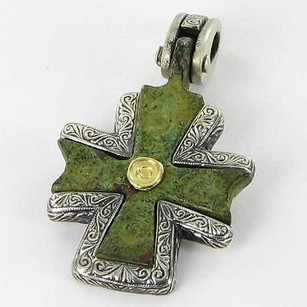 Nouveau 1910 Pendant Byzantine Cross 18k Yellow Gold Sterling Silver