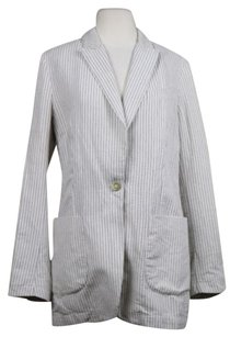 November Womens Ivory Navy Pinstriped Blazer Linen Wear To Work Jacket