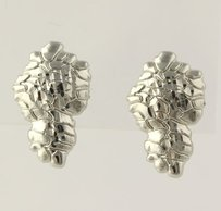 Nugget Earrings - Pierced Textured Surface Polished Stick Post Butterfly