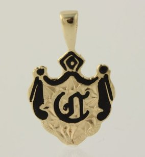 Other Old English Crest Pendant - 14k Yellow Gold Black Enamel Hawaiian Style Initial