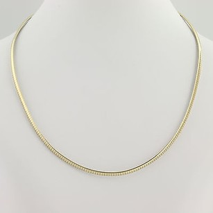 Omega Chain Necklace 15 34- 14k Yellow White Gold Lobster Claw Clasp Womens