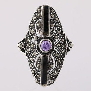 Other Onyx Purple Cz Marcasite Cocktail Ring Sterling Silver 5.75 Statement