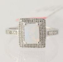 Opalite Diamond Ring - 925 Sterling Silver Band Womens