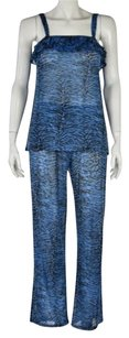 Betsey Johnson Intimates Womens Blue Pajama Set Animal Print Sleepwear