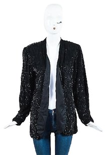 Vintage Stenay Black Silk Sequin Bead Long Sleeve Blazer Jacket