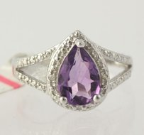 Pear Cut Amethyst Cocktail Ring - 925 Sterling Silver Band 1.75ctw