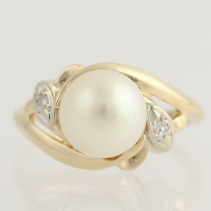 Other Pearl Diamond Cocktail Ring - 14k Yellow White Gold June Gift Genuine .03ctw