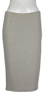 Other 14th Union Womens Pencil Striped Below Knee Skirt Gray, Ivory