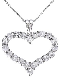 10k White Gold 4 58 Ct Created White Sapphire Heart Solitaire Pendant Necklace