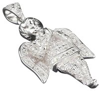 Diamond Mini Angel Pendant White Gold Mens Fully Iced Out Pave Charm 0.25 Ct.