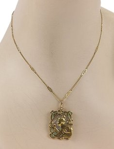 Art Nouveau 14k Yellow Gold Diamond Plique A Jour Pendant Necklace