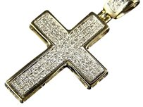 10k Mens Ladies Mini Diamond Cross Charm Pendant .75 Ct