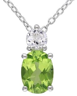 Sterling Silver 1.57 Ct Tw Peridot White Sapphire Fashion Pendant With Chain